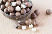 Macadamia Nuts In Coconut Bowl