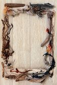 Driftwood and seaweed abstract border over old oak background.