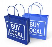 stock photo of local shop  - Buy Local Bags Promoting Buying Products Locally - JPG