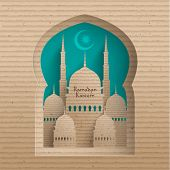 Vector 3D Cardboard Mosque. Translation: Ramadan Kareem - May Generosity Bless You During The Holy Month.