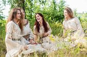 Beautiful women relaxing on nature