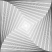 Design Monochrome Swirl Square Illusion Background