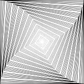 Design Monochrome Swirl Square Illusion Background