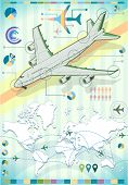 Infographic Set Elements With Airplane
