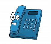 Cartoon blue landline telephone