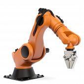 stock photo of robot  - Very high resolution 3d rendering of an industrial robot - JPG