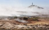 Iceland. Reykjanes Peninsula. Gunnuhver Geothermal Area. Boiling Water And Steam Emerging. Lighthous