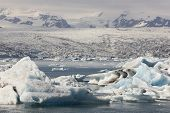 Iceland. Southeast Area. Jokulsarlon. Icebergs, Lake And Glacier.