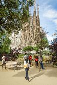 People Photographing The Sagrada Familia Cathedral