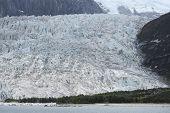 Patagonian Landscape. Glacier, Mountains And Lake.
