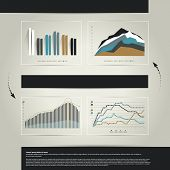 Infographic page with charts and text fields. Exclusive business layout.