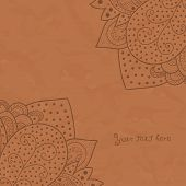 Vintage invitation corners on brown grunge background with lace ornament