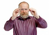 picture of bifocals  - Picture of an elderly man with vision problems - JPG