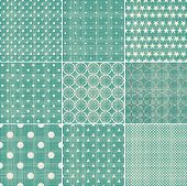 Set Of Retro Turquoise And Faded Grey Seamless Patterns