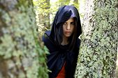 Woman With Hood In Fantasy Forest