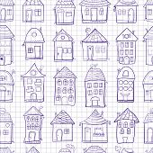 Seamless pattern outine houses