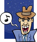 Singing Man Cartoon Illustration