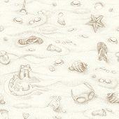 Seamless summer beach background, hand-drawn illustration.