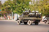 Phnom Penh, Cambodia - 29 Dec 2013: Cambodian Riot Police Moved By Truck