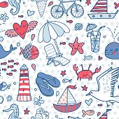 Funny seamless pattern with summer elements: lounge, seagull, umbrella, bicycle, ice-cream, crab, wh