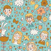 Childish spring cartoon seamless pattern with boys, girls, love, rabbit, butterflies, birds, clouds and flowers. Seamless pattern can be used for wallpapers, pattern fills, web page backgrounds,.