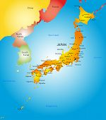 Vector detailed color map of Japan country