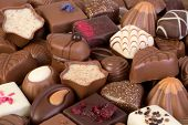Assortment of fine chocolates. Shallow depth of field