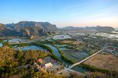 Shrimp farms and limestone mountains in Sam Roi Yot National Park, Thailand