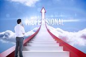The word professional and businessman holding glasses against red steps arrow pointing up against sk