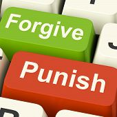 stock photo of punish  - Punish Forgive Keys Showing Punishment or Forgiveness - JPG