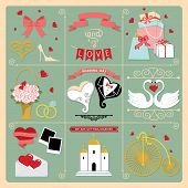 Set Of Wedding Invitation Retro Design Elements,icons