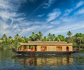 pic of houseboats  - Travel tourism Kerala background  - JPG