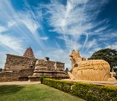 foto of tamil  - Hindu temple Gangai Konda Cholapuram with giant statue of bull Nandi - JPG