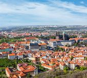 Aerial view of Hradchany part of Prague: the Saint Vitus (St. Vitt's) Cathedral and Prague Castle, v