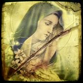 Instagram style image of a vintage virgin Mary