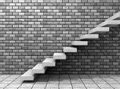 stock photo of step-ladder  - Concept or conceptual white stone or concrete stair or steps near a brick wall background with wood - JPG