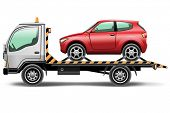 pic of wrecker  -  illustration tow truck loaded up the car - JPG