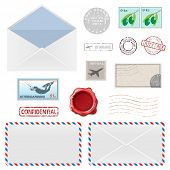 Set of Postal Business Icons, Envelopes, Stamps. illustration.