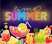 Summer Holidays Vector Illustration Set with Cocktails, Sky, Sea, Fruits and Berries. Neon Sign Summ
