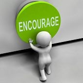stock photo of encouraging  - Encourage Button Meaning Inspire Motivate And Energize - JPG