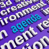 Agenda In Word Cloud Shows Schedule Program