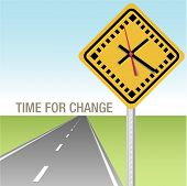Traffic sign clock and future road time for change ahead