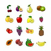 image of fruit platter  - Fruits icons set of orange grape apple strawberry kiwi pineapple cherry and others vector illustration - JPG