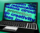 Promotion Screen Shows Marketing Campaign Or Promo