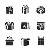 Gift boxes icons set with different ribbons and bows