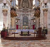 Mafra, Portugal - July 03, 2013: Altar and apse of the Basilica of the Mafra Palace and Convent. Fra
