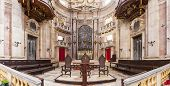 Mafra, Portugal - September 02, 2013: Altar and apse of the Basilica of the Mafra Palace and Convent