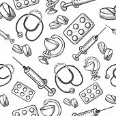 Seamless background of medical items