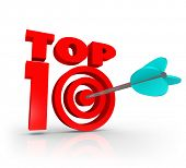 Top 10 Words 3D Letters Arrow Bulls-Eye Best Ten Results