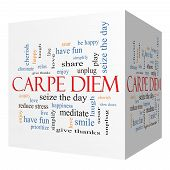 Carpe Diem 3D Cube Word Cloud Concept